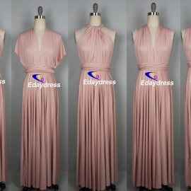 One size fit most of body shape full long convertible dress wrap dress multi way dress bridesmaid dress nude pink infinity dress