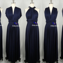 Maxi full length bridesmaid infinity dress convertible wrap dress multi way long dresses navy blue infinity dress