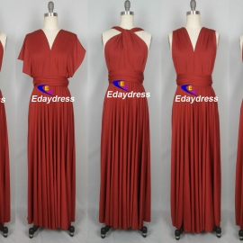 Maxi full length bridesmaid infinity dress convertible wrap dress multiway long dresses burnt orange infinity dress