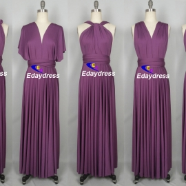 Maxi full length bridesmaid infinity dress convertible wrap dress multi way long dresses sunset purple infinity dress