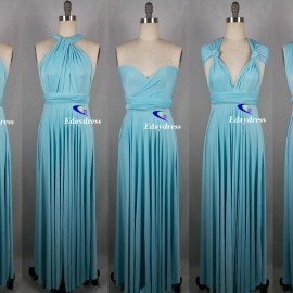 Maxi full length bridesmaid infinity dress convertible wrap dress multi way long dresses pastel blue infinity dress