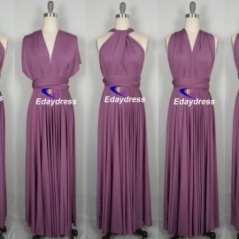 Maxi full length bridesmaid infinity dress convertible wrap dress multi way long dresses rose purple infinity dress