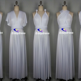 Maxi full length bridesmaid infinity dress convertible wrap dress multi way long dresses pure white infinity dress