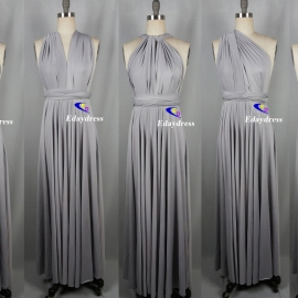 Maxi full length bridesmaid infinity dress convertible wrap dress multi way long dresses silver infinity dress