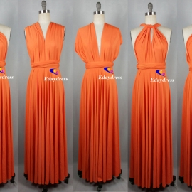 Maxi full length bridesmaid infinity dress convertible wrap dress multiway long dresses orange peel infinity dress