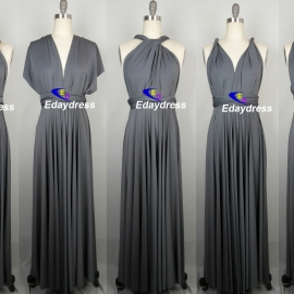 Maxi full length bridesmaid infinity dress convertible wrap dress multi way long dresses charcoal gray infinity dress