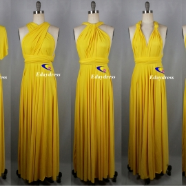 Maxi full length bridesmaid infinity dress convertible wrap dress multi way long dresses bright yellow infinity dress
