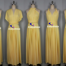 Maxi full length bridesmaid infinity dress convertible wrap dress multi way long dresses pastel yellow infinity dress