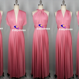 Maxi full length bridesmaid infinity dress convertible wrap dress multi way long dresses rough pink infinity dress