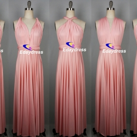 Maxi full length bridesmaid infinity dress convertible wrap dress multi way long dress peach pink infinity dress