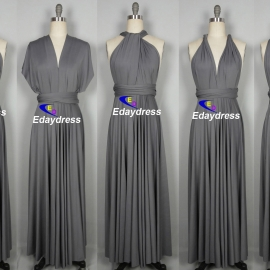 Maxi full length bridesmaid infinity dress convertible wrap dress multiway long dresses darker silver infinity dress