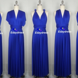 Maxi full length bridesmaid infinity dress convertible wrap dress multiway long dresses royal blue infinity dress
