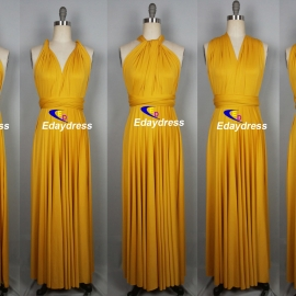 Maxi full length bridesmaid infinity dress convertible wrap dress multi way long dresses gold yellow infinity dress