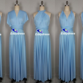 Maxi full length bridesmaid infinity dress convertible wrap dress multi way long dresses sky blue infinity dress