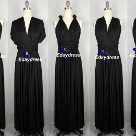 Maxi full length bridesmaid infinity dress convertible wrap dress multiway black long dresses