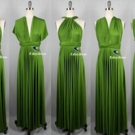 Maxi full length bridesmaid infinity dress convertible wrap dress multi way long dresses grass green infinity dress