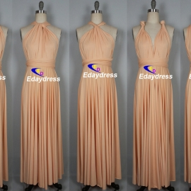 Maxi full length bridesmaid infinity dress convertible wrap dress multi way ong dresses pearl peach infinity dress