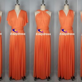Maxi full length bridesmaid infinity dress convertible wrap dress multiway long dresses orange infinity dress