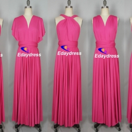 Maxi full length bridesmaid infinity dress convertible wrap dress multi way long dresses hot pink infinity dress