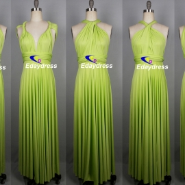 Maxi full length bridesmaid infinity dress convertible wrap dress multi way long dresses apple green infinity dress