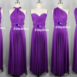 Maxi full length bridesmaid infinity dress convertible wrap dress multi way long dresses bright purple infinity dress