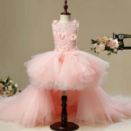 Full length tulle satin pink flower girls dresses long flower dresses flower girls dresses for wedding