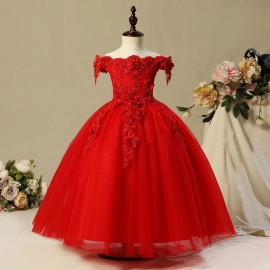 Full length tulle satin embroidery flower girl dresses flower girl dresses gown