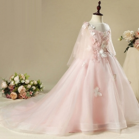 Full length tulle satin flower girls dresses long flower dresses flower girls dresses for wedding