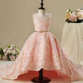 Full length tulle satin flower girls dresses long flower dresses flower girls dresses for wedding dresses