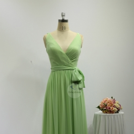 Overlay neckline bridesmaid dresses full long chiffon mint green bridesmaid dresses with belt tie strap