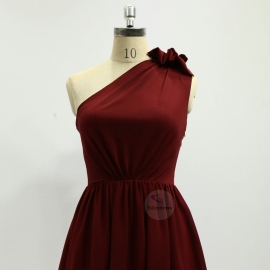 A line style bridesmaid dresses wedding dresses knee length chiffon bridesmaid dresses brick red pleating bridesmaid dresses