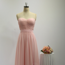 A line style bridesmaid dresses sweetheart dresses full long chiffon brides maid dresses pink pleating bridesmaid dresses