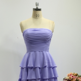 Scoop neckline bridesmaid dresses short bridesmaid dresses knee length bridesmaid dresses lilac lavender bridesmaid dresses with layers skirt