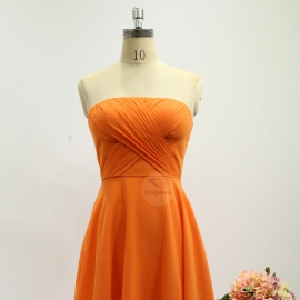 A line style bridesmaid dresses sweetheart dresses knee length chiffon bridesmaid dresses orange pleating bridesmaid dresses