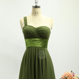 One shoulder strap bridesmaid dresses dresses knee length chiffon bridesmaid dresses grass green olive pleating bridesmaid dresses