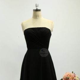 A line style bridesmaid dresses sweetheart dresses knee length chiffon bridesmaid dresses black pleating bridesmaid dresses