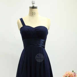 One shoulder strap bridesmaid dresses dresses knee length chiffon bridesmaid dresses navy blue pleating bridesmaid dresses