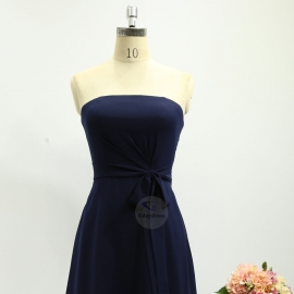 Scoop neck bridesmaid dresses v neck dresses knee length chiffon bridesmaid dresses navy blue pleating bridesmaid dresses
