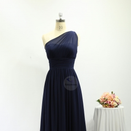 A line style bridesmaid dresses full long chiffon brides maid dresses one shoulder navy blue bridesmaid dresses