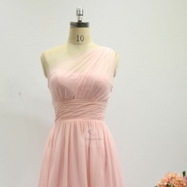 A line style bridesmaid dresses wedding dresses knee length chiffon bridesmaid dresses pink pleating bridesmaid dresses