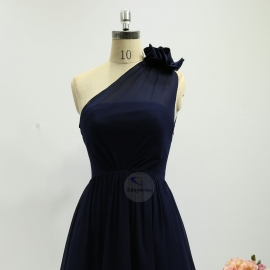 A line style bridesmaid dresses wedding dresses knee length chiffon bridesmaid dresses navy blue pleating bridesmaid dresses