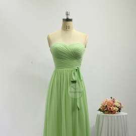 Sweetheart neckline bridesmaid dresses full long chiffon mint green bridesmaid dresses with belt tie strap