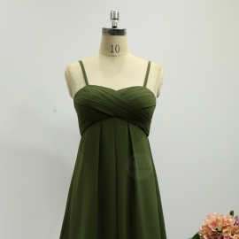 Spaghetti straps bridesmaid dresses sweetheart shape neckline bridesmaid dresses olive grass green chiffon bridesmaid dresses short bridesmaid dresses