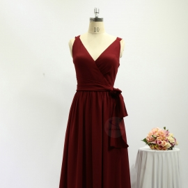 Overlay neckline bridesmaid dresses full long chiffon brick red bridesmaid dresses with belt tie strap