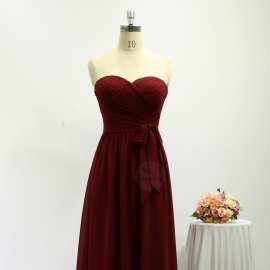 Sweetheart neckline bridesmaid dresses full long chiffon brick red bridesmaid dresses with belt tie strap