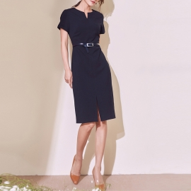 Women fashion black short sleeve dresses round neck dresses