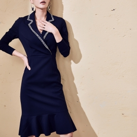 Women fashion beautiful dresses work dresses navy blue dress mid night dress ruffles buttom dresses office lady dresses with beadding neck