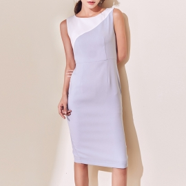 Women fashion lilac with white round neck dress with back slit sleevless dresses