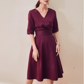 Women fashion beautiful dresses burgundy flare dresses work dresses office dresses