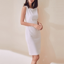 Women fashion beautiful dresses white dresses office dresses fitting dress strips pattern dresses